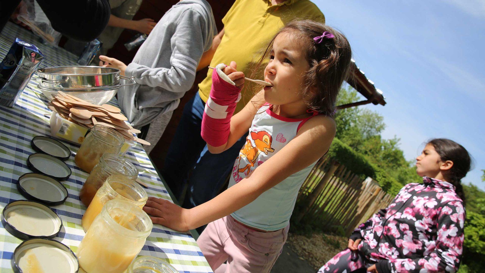 Aktion Mahlzeit bei den Imkern. Die Kindern dürfen verschiedenen Honig probieren. Sieht lecker aus!