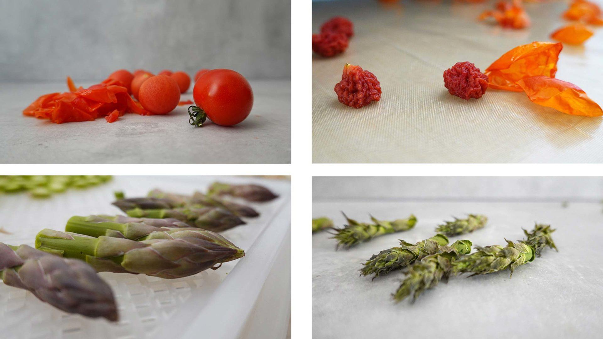 Tomaten und Grüne Spargel-Spitzen, jeweils roh und getrocknet