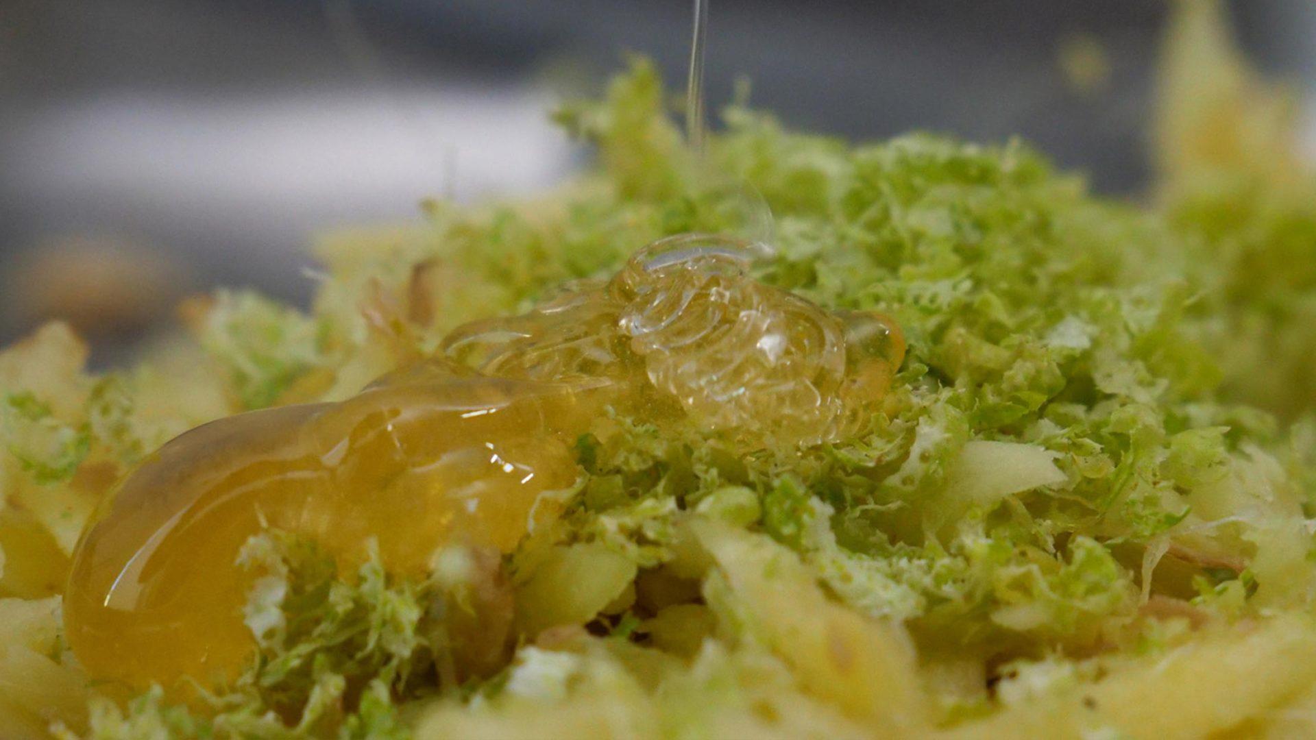 Honig auf Limettenschale und geriebenem Ingwer
