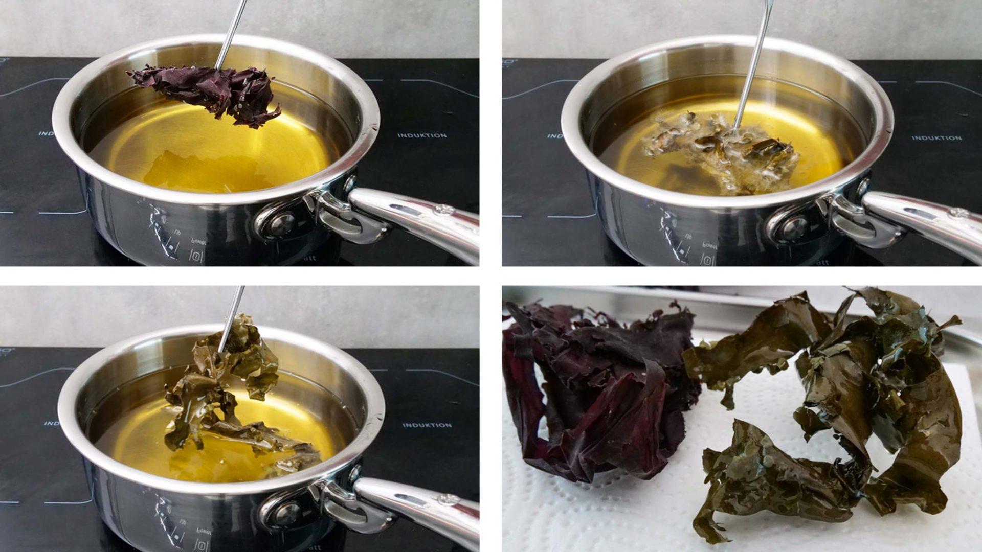 Ein Getrocknetes Dulseblatt wird frittiert