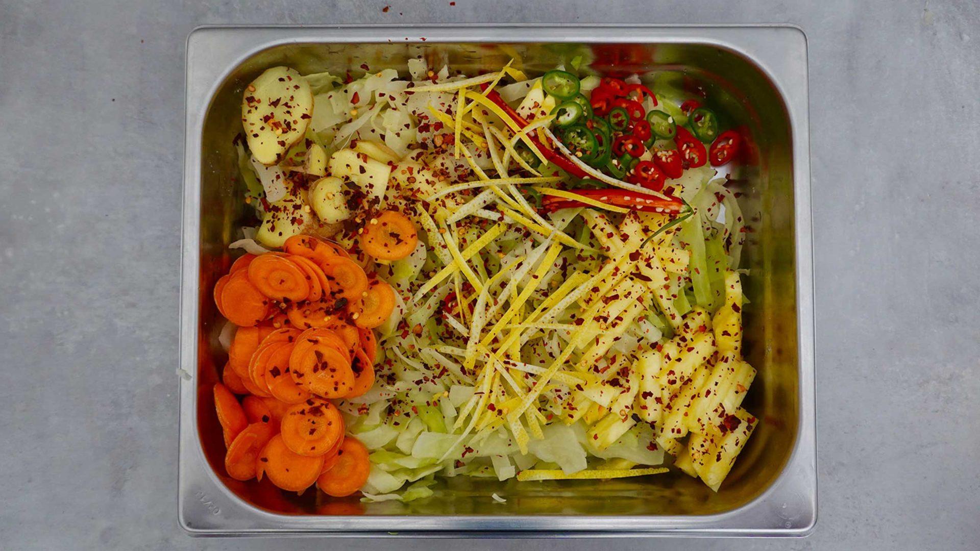 Zutaten für den Kimchi von unserem Milk. Food Lab.