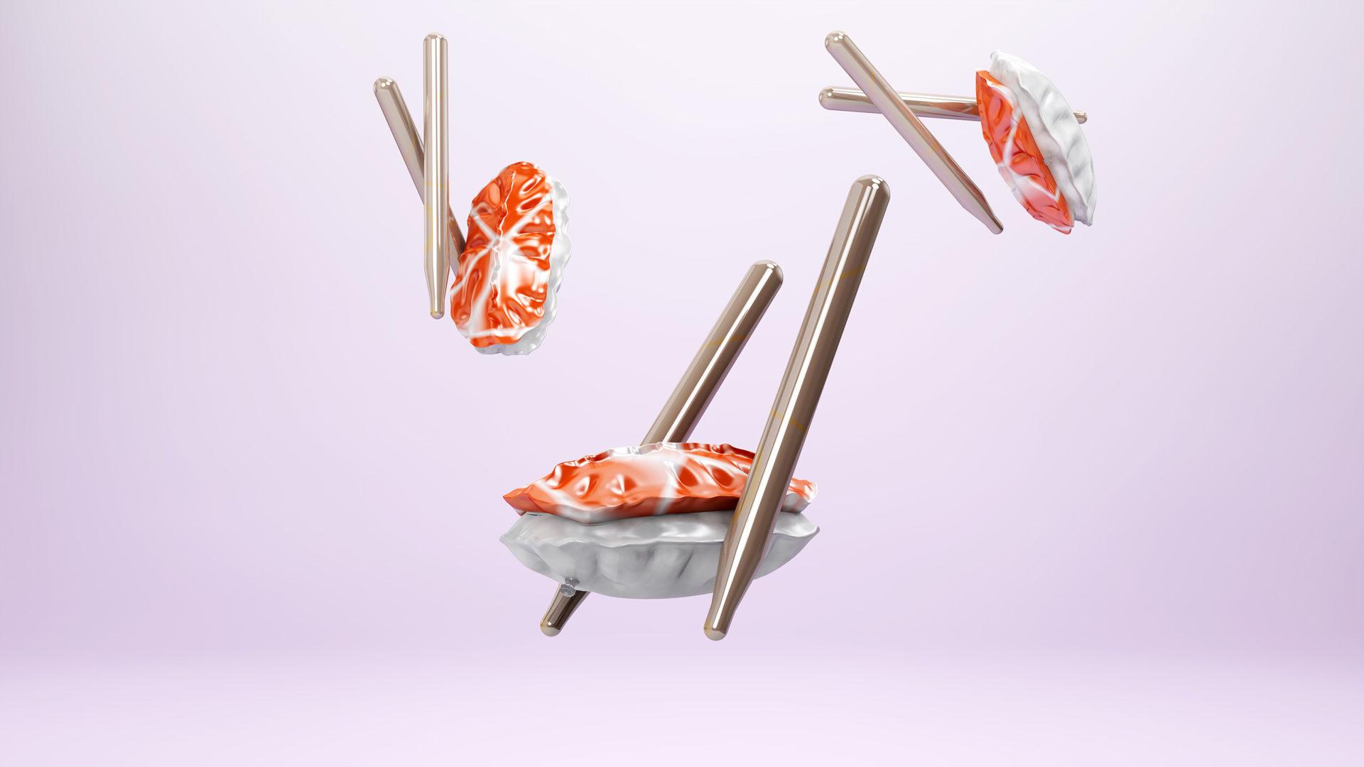 Plastik Lebensmittel. Sushi aus Plastik.