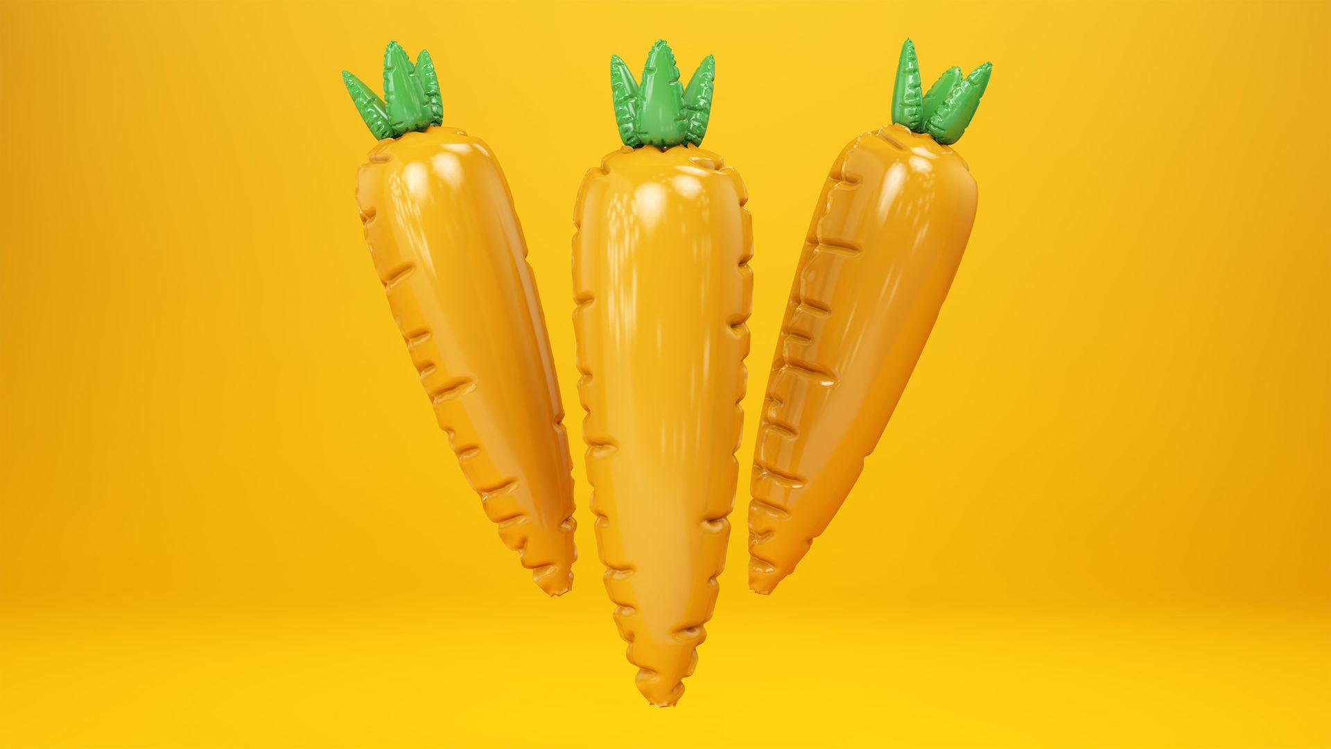 Plastik Lebensmittel. Karotten aus Plastik.