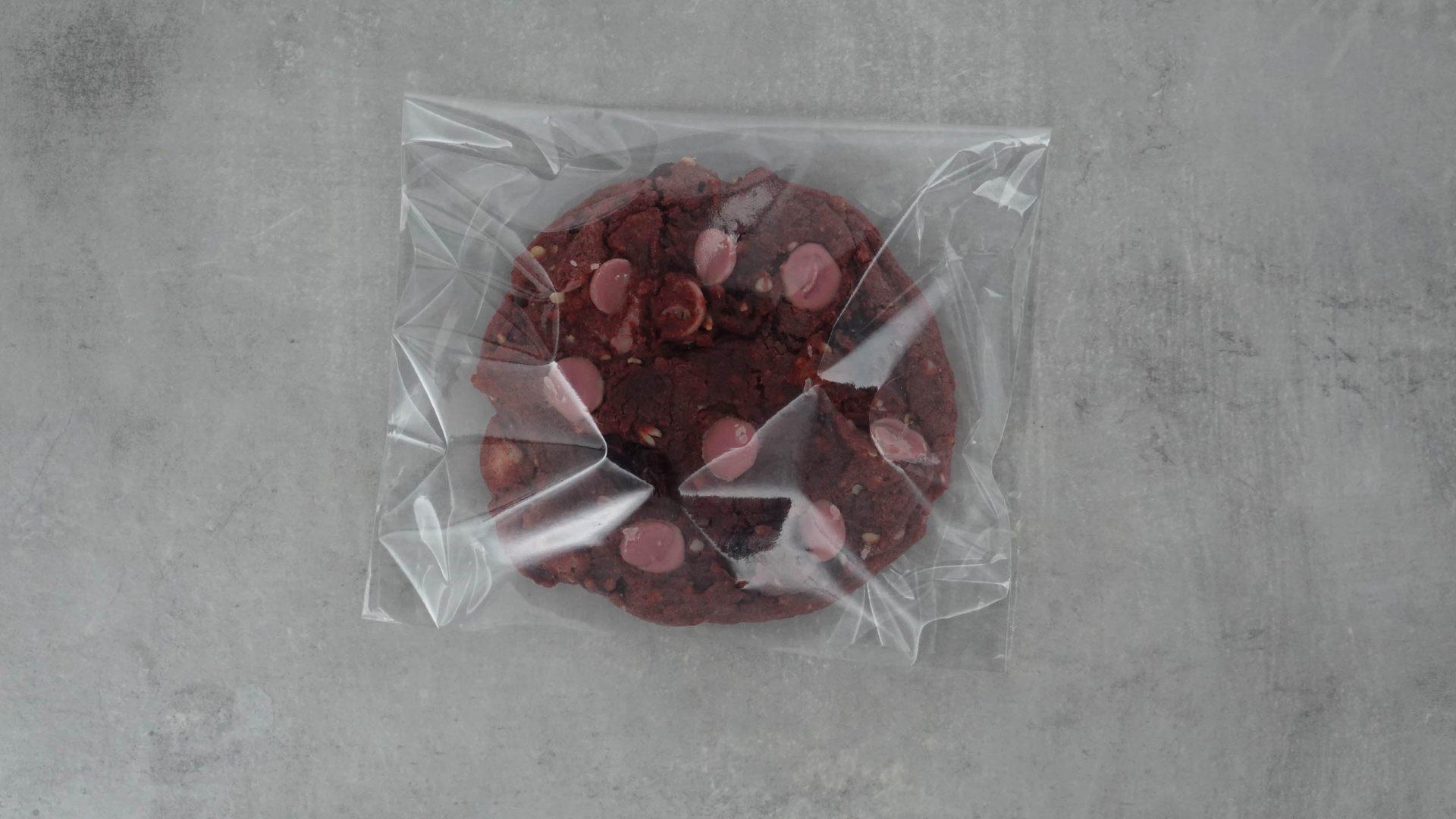 Purple Rain-Cookie in Plastik verpackt