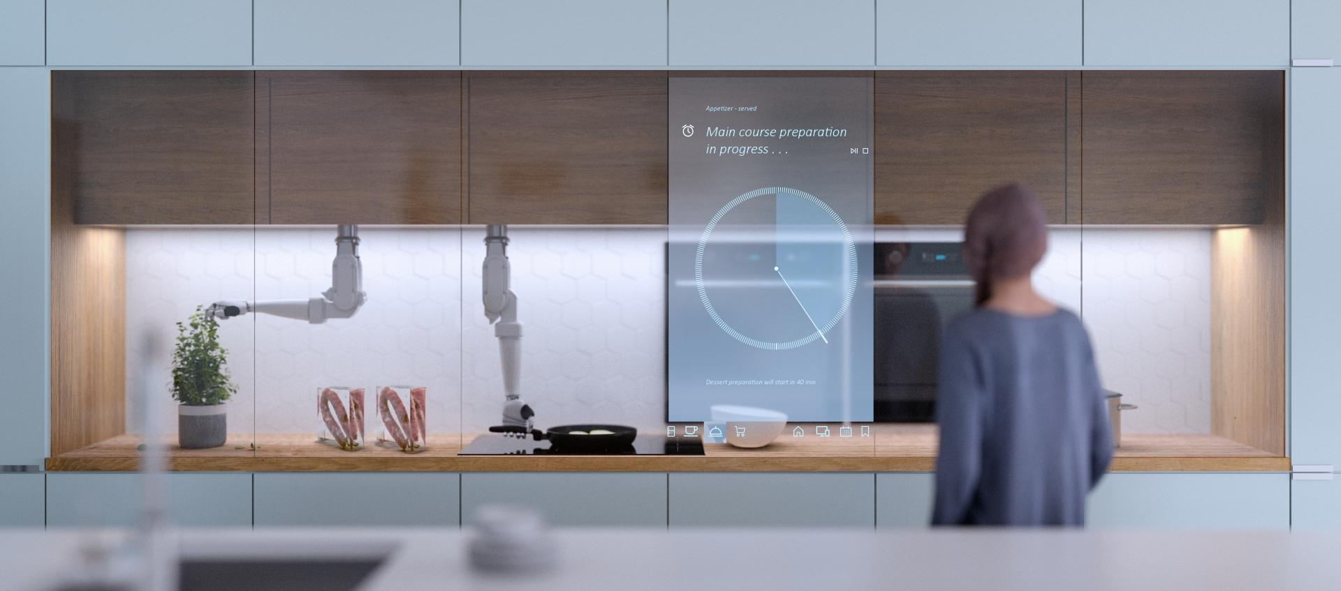 Eine Küche aus der Zukunft mit Roboterarmen und Wurstartefakten auf der Theke